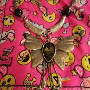 Large Butterfly Statement Necklace